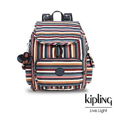 Kipling經典款繽紛仲夏條紋掀蓋後背包-CITY PACK S