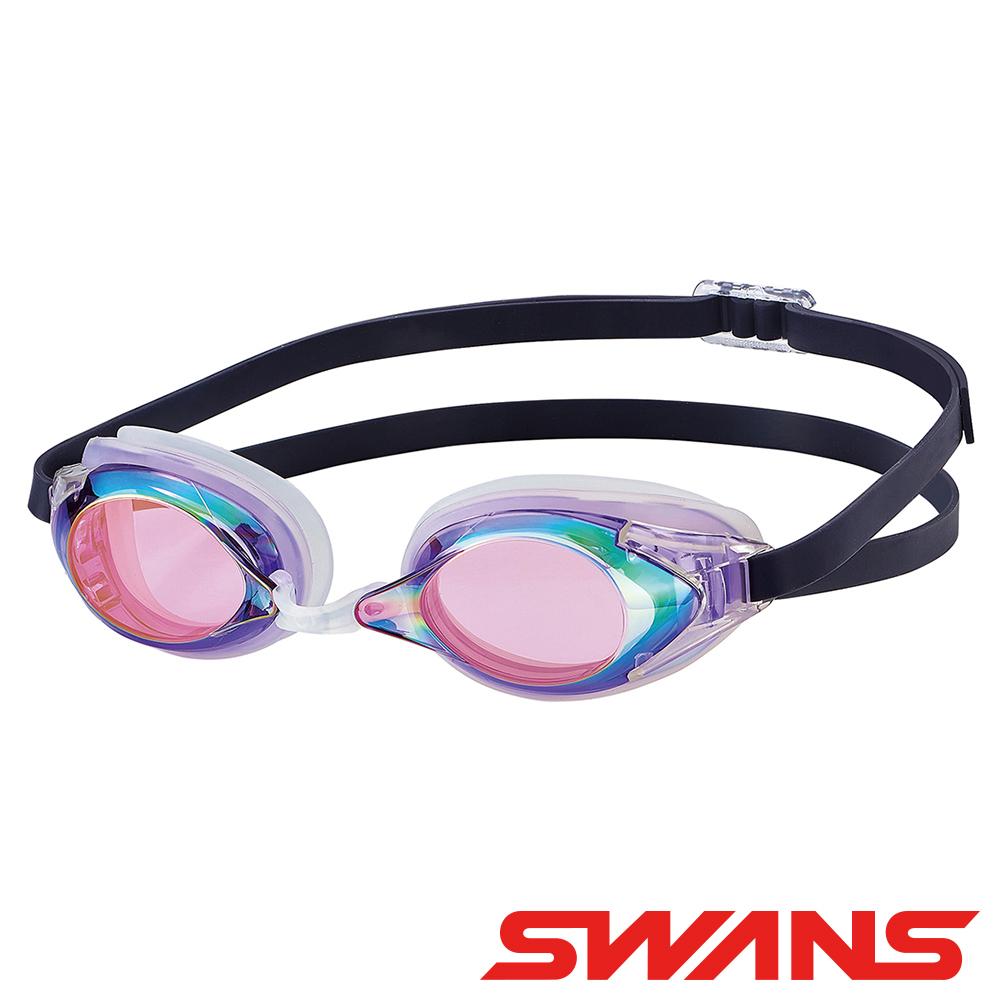 【SWANS 日本】光學通用型泳鏡(防霧/抗UV/矽膠/偏光功能 SR-2M 紫)