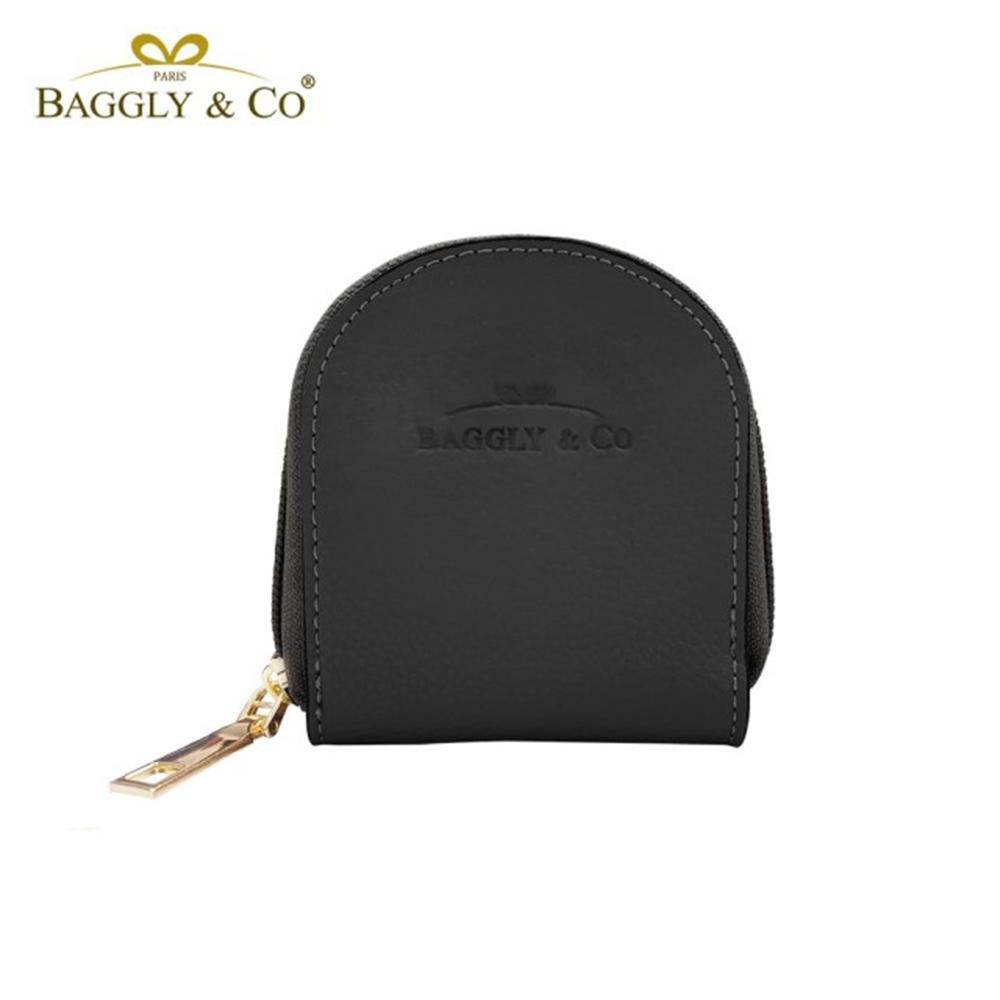【BAGGLY&CO】質感真皮荔枝紋手工拉鍊馬蹄零錢包(四色)