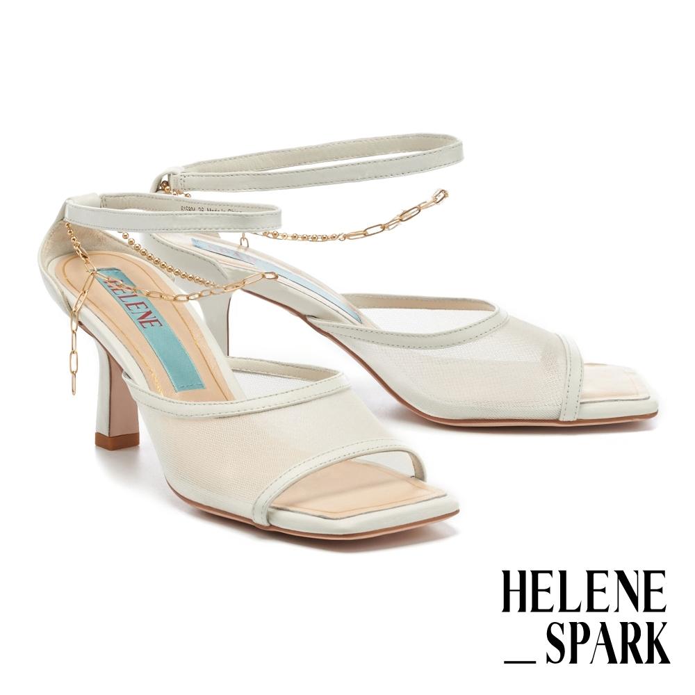 拖鞋 HELENE SPARK 性感氣息網紗金屬鏈條繫帶方頭高跟拖鞋-白
