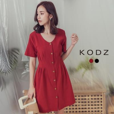 東京著衣-KODZ 簡約知性V領排釦腰身洋裝-S.M.L(共二色)