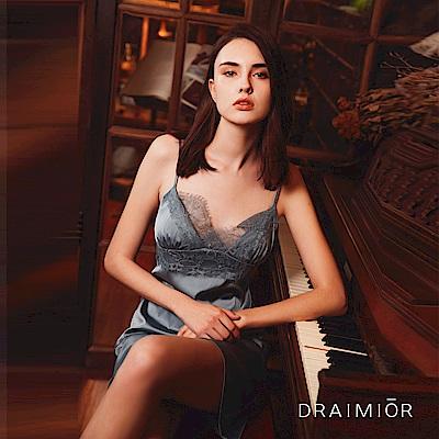 性感睡衣 DRAIMIOR絲滑簡約蕾絲吊带睡裙。灰藍 久慕雅黛