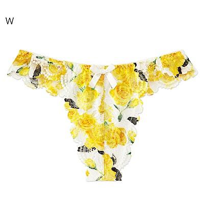aimerfeel 玫瑰交叉蕾絲淑女丁字褲-白色-604023-W
