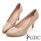 GDC-真皮時髦壓紋都會上班素色基本設計感中跟尖頭鞋-粉膚色 product thumbnail 1