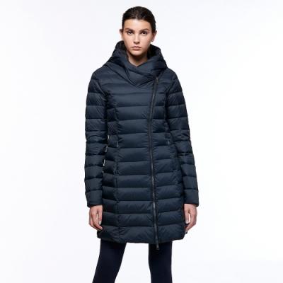 【HAKERS 哈克士】女 防潑水羽絨長版外套(煤黑色)