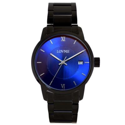 LOVME 紳士質感不鏽鋼日期窗手錶-IP黑x藍/43mm