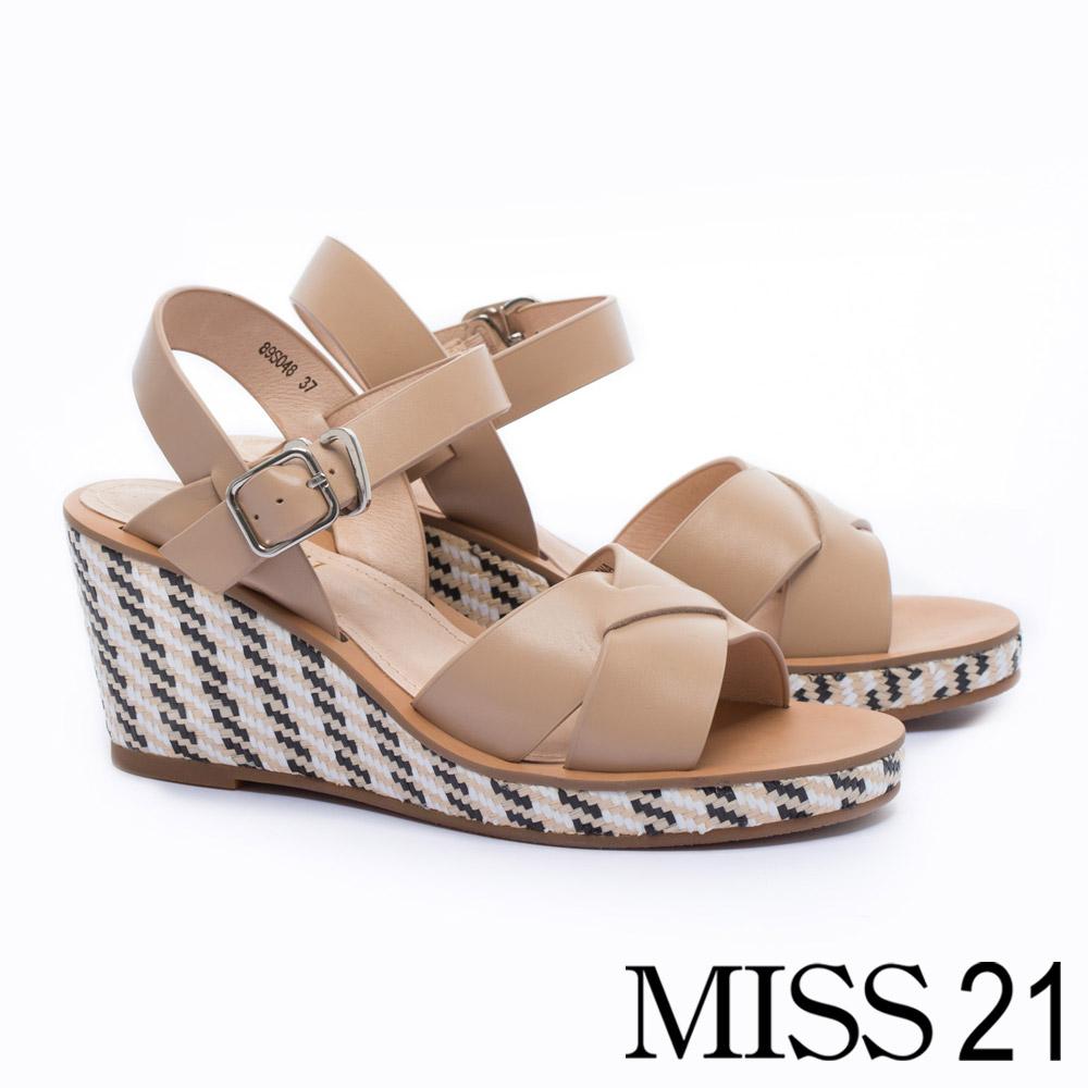 涼鞋 MISS 21 純色民族草編風真皮楔型涼鞋-咖
