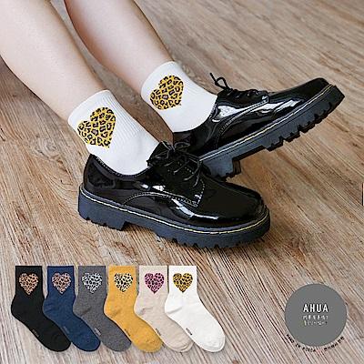阿華有事嗎 韓國襪子 豹紋愛心中筒襪 韓妞必備長襪 正韓百搭純棉襪