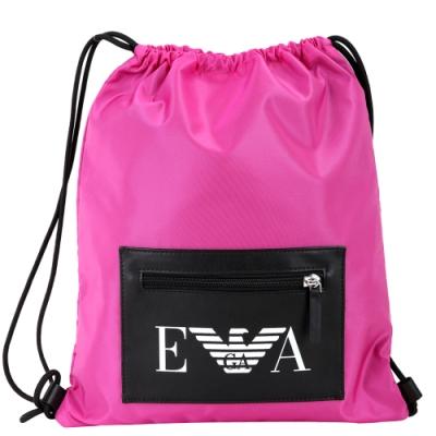 EMPORIO ARMANI 品牌皮革拉鍊袋尼龍束口後背包(桃紅色)