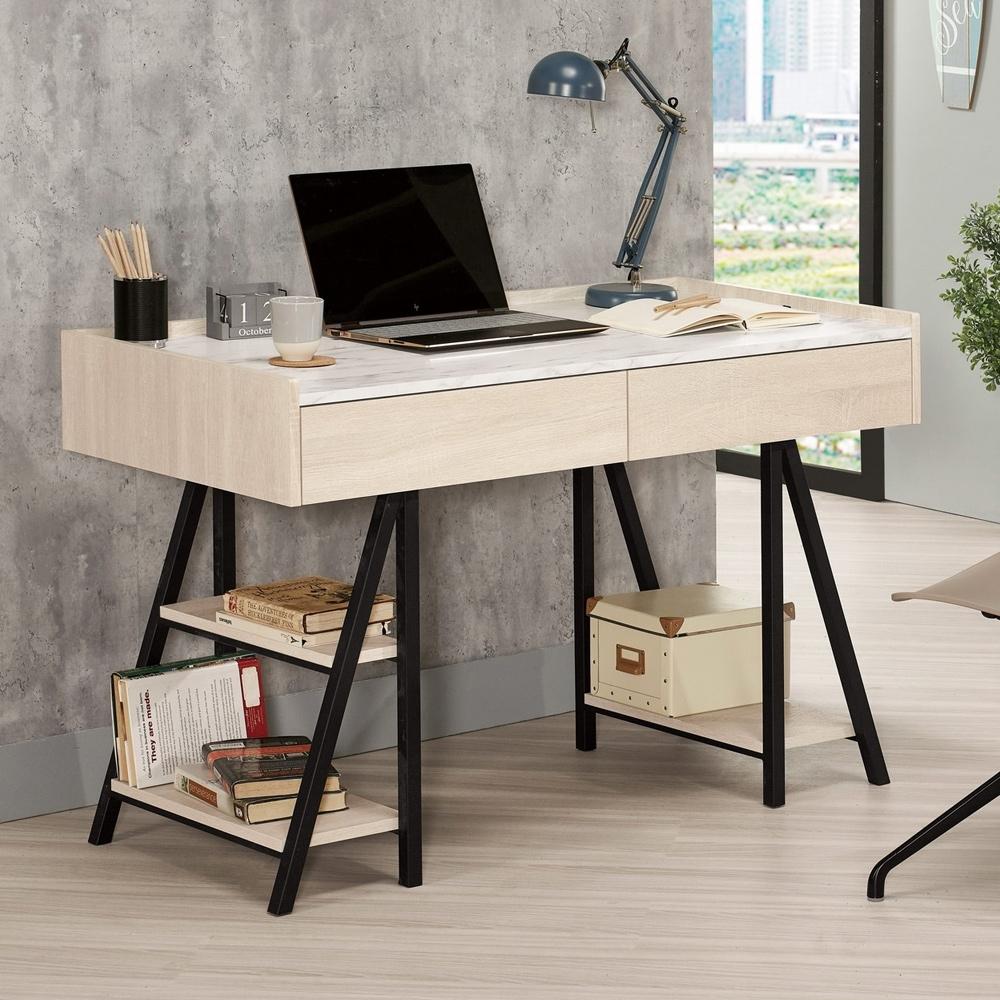 Boden-妮絲4尺二抽仿石面書桌/工作桌(桌下置物架型)-120x60x76cm