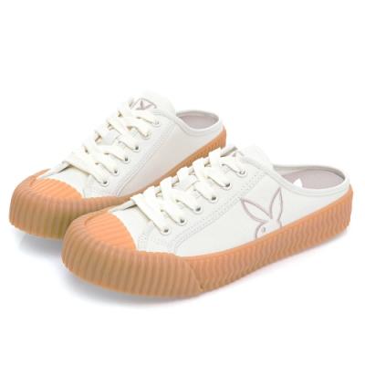 PLAYBOY  經典Cookies休閒穆勒鞋-白-Y670811