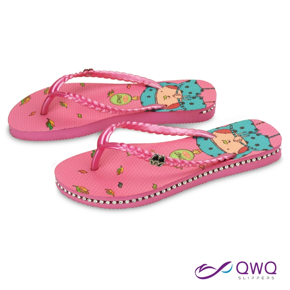 QWQ 女款插圖人字夾腳拖鞋-鞋帶保固-水鑽拖鞋-休閒拖鞋-秋詩-粉(ADIM00702)