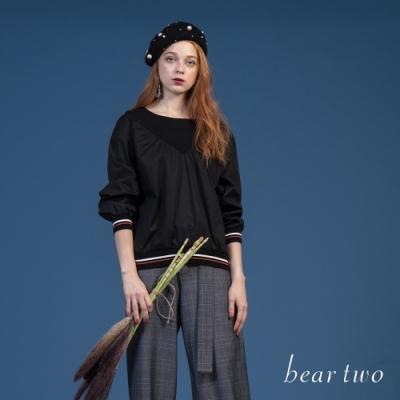 beartwo - 同色拼接上衣 - 黑