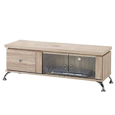 綠活居 比德4尺二門單抽電視櫃/視聽櫃(二色可選)-121x43x44cm-免組