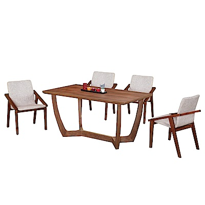 文創集 米森尼時尚5尺實木餐桌椅組合(餐桌+淺灰皮革餐椅四張)-150x85x75cm免組