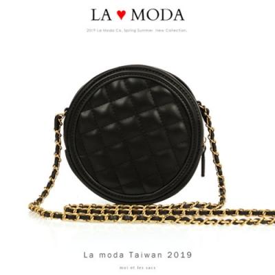 La Moda 時尚可愛小香風菱格紋肩背斜背鍊帶小圓包(黑)