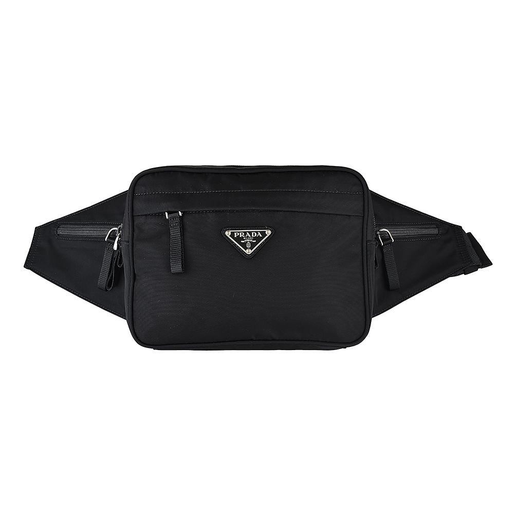 PRADA 經典TESSUTO三角銀鐵牌LOGO尼龍拉鍊胸腰包(黑)
