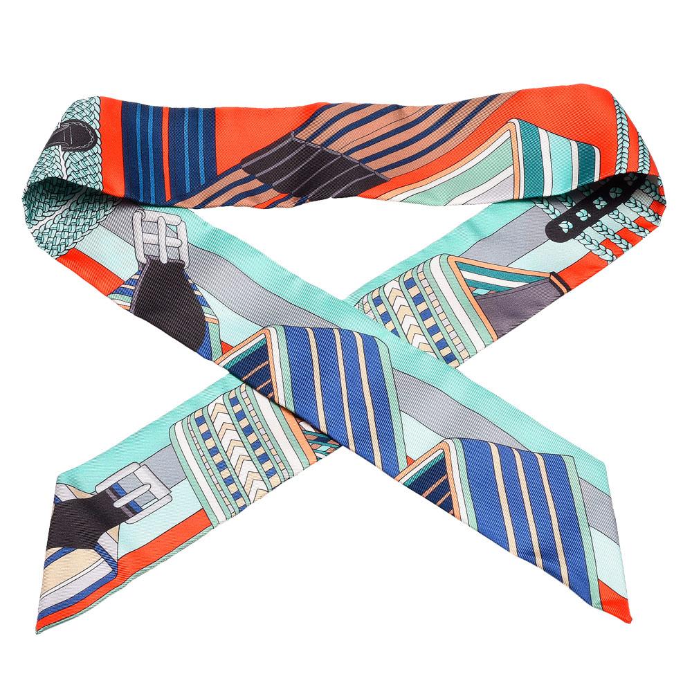 HERMES Sangles en Zigzag皮帶圖案Twilly絲巾領結-橘紅X粉綠