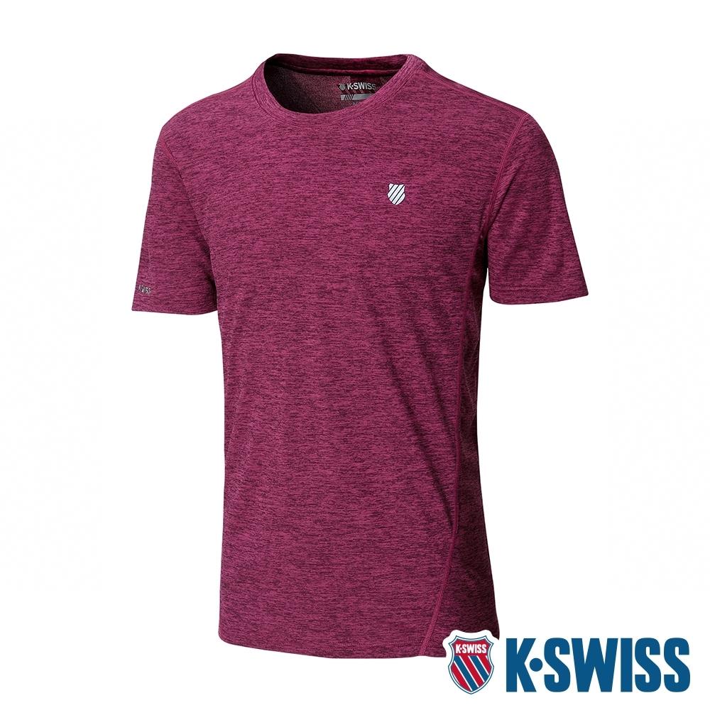 K-SWISS Small Neon Logo Tee排汗T恤-男-紅
