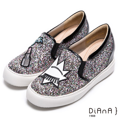 DIANA 閃耀魅力—銀河系耀眼碎鑽童趣圖案楔型增高鞋-粉
