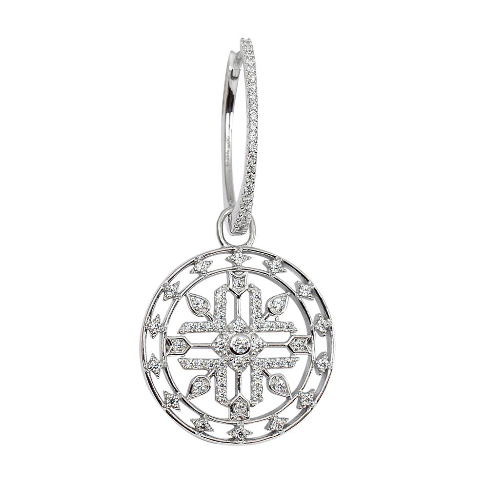 apm MONACO法國精品珠寶 閃耀銀色鑲鋯MANDALA單邊圈式耳環