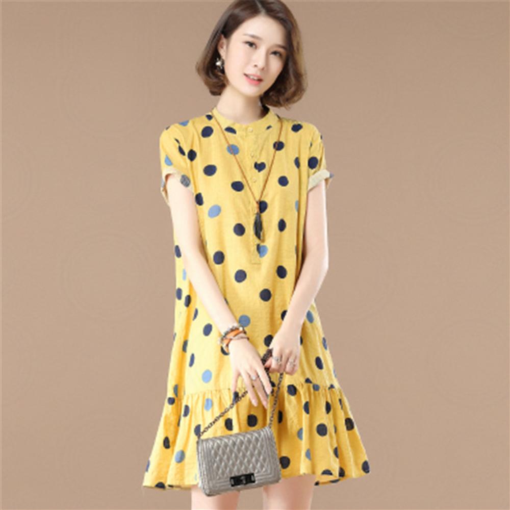 初色  浪漫圓點荷葉邊連衣裙-共3色-(M-2XL可選)