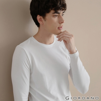 GIORDANO 男裝G-WARMER PLUS+圓領極暖衣 - 01 標誌白