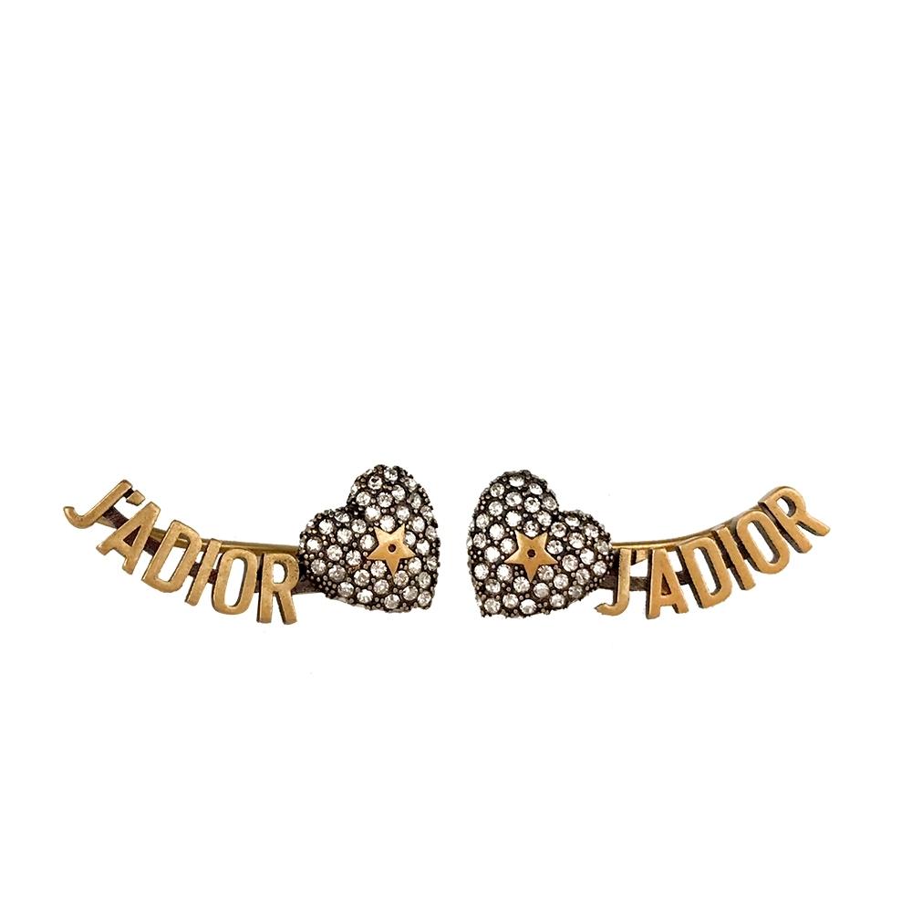 Dior新款情人節限定 鍍金復古金屬水鑽愛心J'adior耳環/耳釘(穿針式)