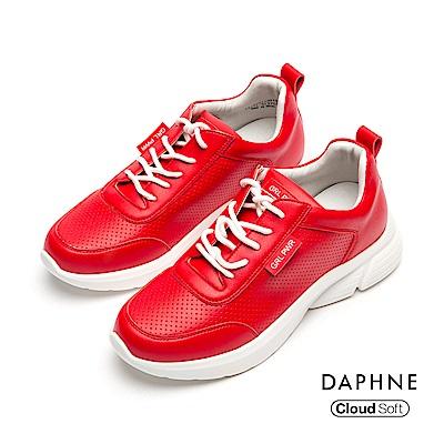 達芙妮DAPHNE 休閒鞋-個性字母標語綁帶厚底休閒鞋- 紅色