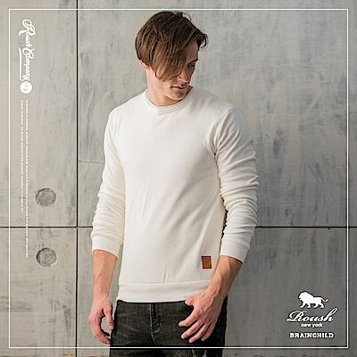 ROUSH 麂皮貼布設計保暖海狸毛棉TEE(5色)