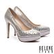 高跟鞋 HELENE SPARK 華麗時尚造型晶鑽羊麂皮美型尖頭高跟鞋-金 product thumbnail 1