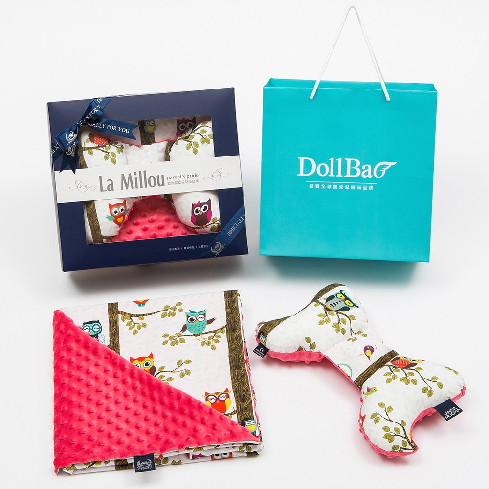 【La Millou】DollBao禮盒天使枕+單面巧柔豆豆毯標準
