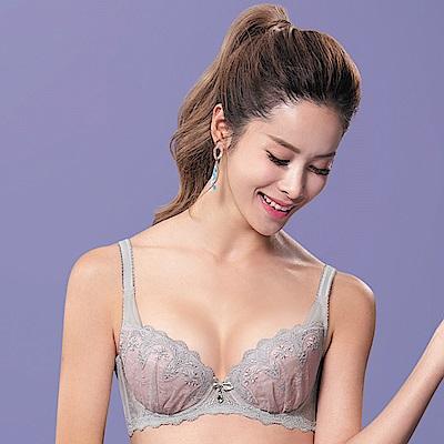 莎薇-魔力推推系列D-E罩杯內衣(灰)集中機能-刺繡蕾絲-性感