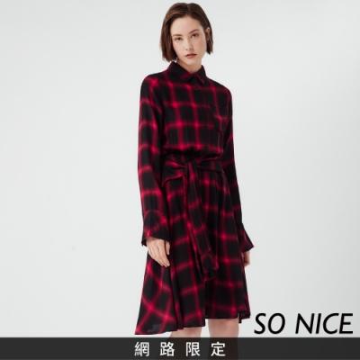SO NICE休閒連帽襯衫式格紋洋裝