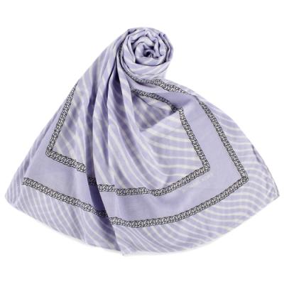 MICHAEL KORS 水波紋鎖鏈圖案披肩薄圍巾-淺藍紫