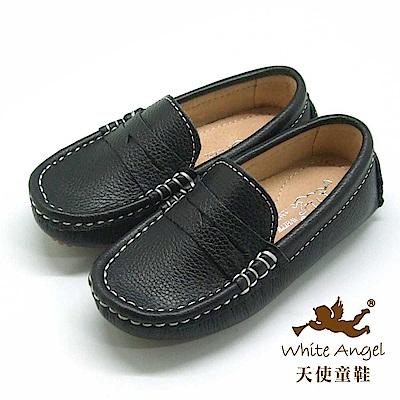 天使童鞋 荔枝紋牛皮豆豆懶人鞋(中-大童)E723B -黑