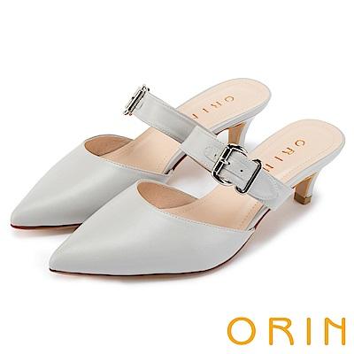 ORIN 時尚潮流 牛皮條帶方釦尖頭穆勒鞋-灰色