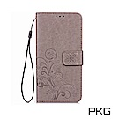 PKG Apple iPhone XR  側翻式皮套-精選皮套系列-幸運草-時尚灰