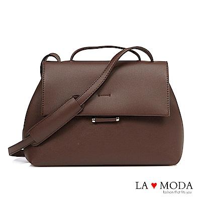 La Moda 百搭熱銷款大容量隱形磁扣肩背包(咖)
