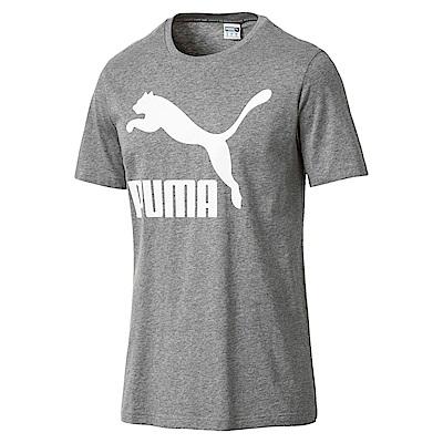 PUMA-男性流行系列No.1 Logo短袖T恤-中麻花灰-亞規