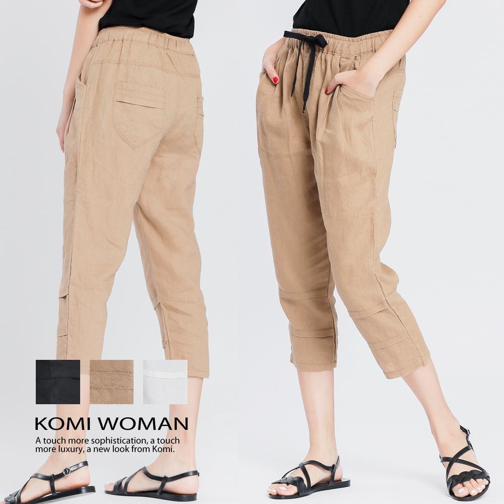 【KOMI】棉麻鬆緊綁帶打褶七分褲 -三色