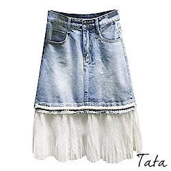 蕾絲網紗拼接A字牛仔裙 TATA