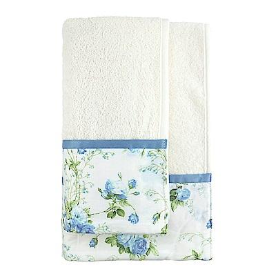 日本丸真 義大利製頂級純棉厚磅飯店浴巾-浪漫藍玫瑰