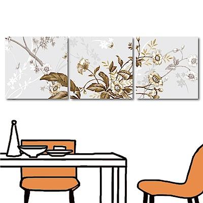 美學365 三聯 簡約時尚花卉掛畫-花物40x40cm