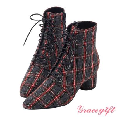 Grace gift X Rui-聯名綁帶尖頭中跟短靴 灰格