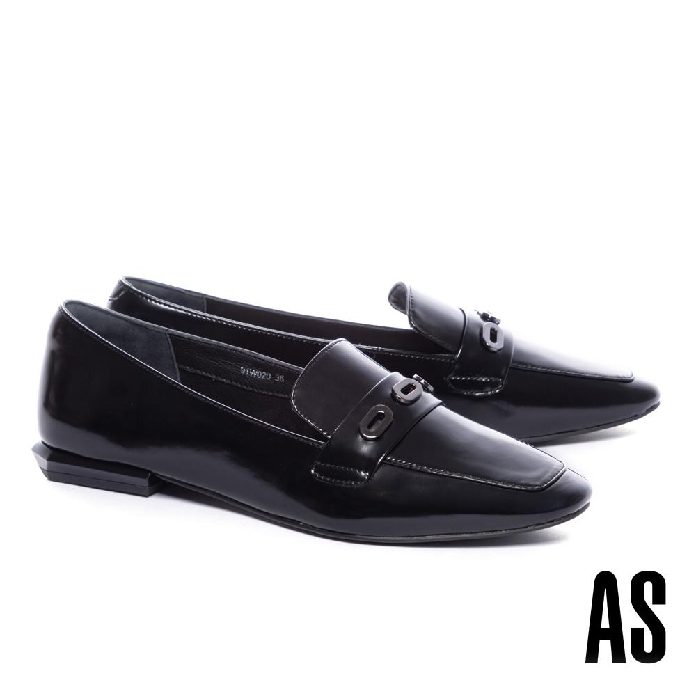 低跟鞋 AS 內斂時髦金屬眼釦牛皮樂福低跟鞋-黑