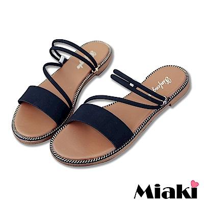 Miaki-涼鞋韓妞必Buy平底2穿涼拖-黑色