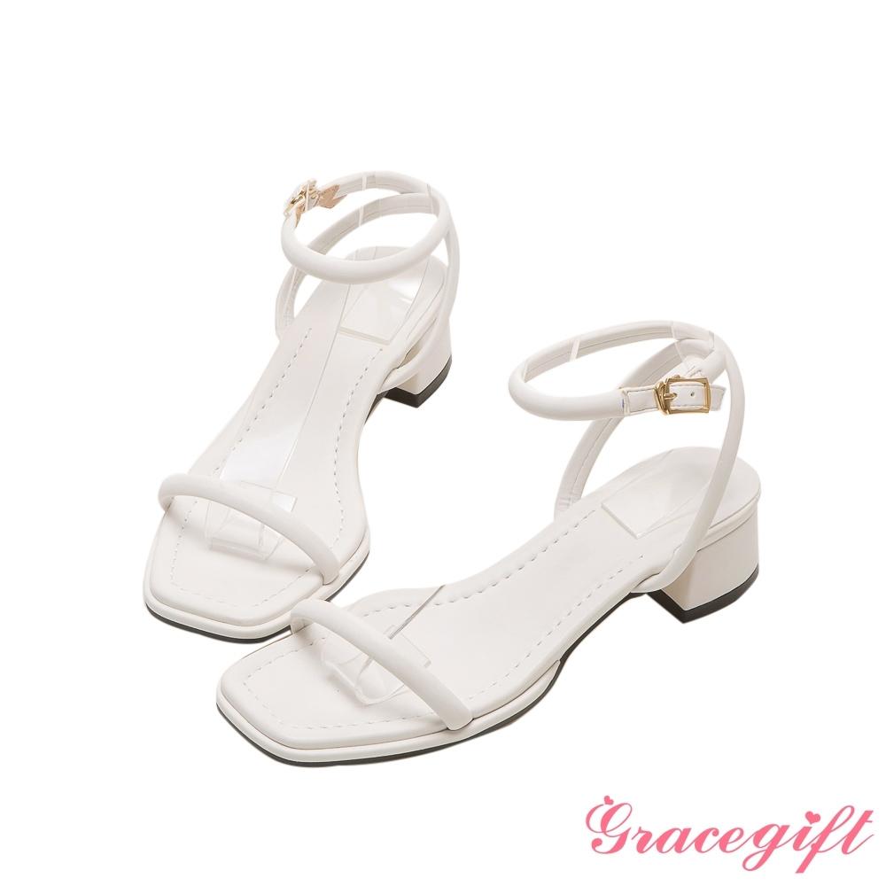 Grace gift-交叉繫踝中跟涼鞋 白
