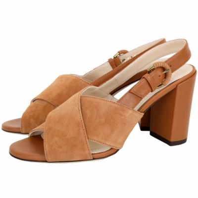 TOD'S 絨面小牛皮粗跟涼鞋(棕色)