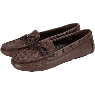 BOTTEGA VENETA 經典編織莫卡辛鞋(咖啡色)